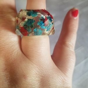 New resin plastic real flower ring